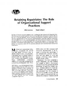Retaining Repatriates: The Role of Organizational Support Practices