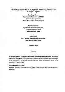 Retaliatory equilibria in a Japanese ascending auction for multiple ...