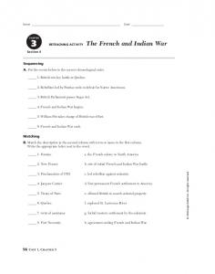 RETEACHING ACTIVITY The French and Indian War
