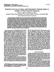 Retention and Loss of Amino Acid Biosynthetic ... - Eukaryotic Cell