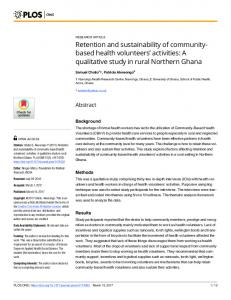 Retention and sustainability of community-based health ... - PLOS