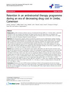 Retention in an antiretroviral therapy programme ... - BioMedSearch
