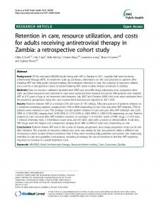 Retention in care, resource utilization, and costs