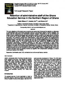 Retention of administrative staff of the Ghana ...