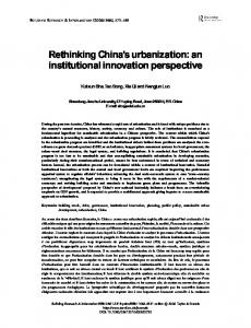 Rethinking China's urbanization: an institutional innovation perspective