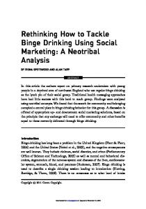 Rethinking How to Tackle Binge Drinking Using Social Marketing: A ...