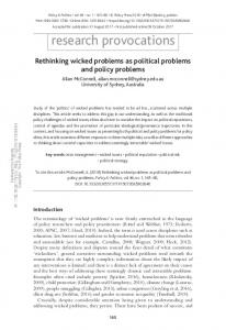 Rethinking wicked problems as political problems and