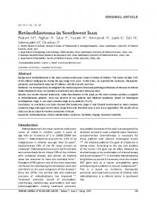 Retinoblastoma in Southwest Iran - Iranian Journal of Blood and Cancer