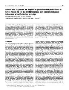 Retinoic acid suppresses the response to platelet-derived growth ...