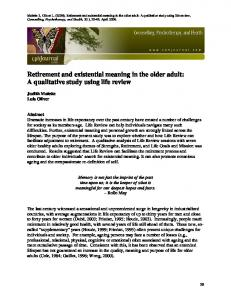 Retirement and existential meaning in the older adult - Mental Health