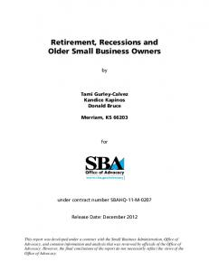 Retirement, Recessions, and Older Small Business Owners