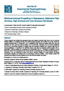 Retrieval-Induced Forgetting in Repressors ... - SAGE Journals