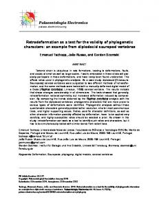 Retrodeformation as a test for the validity of phylogenetic characters ...