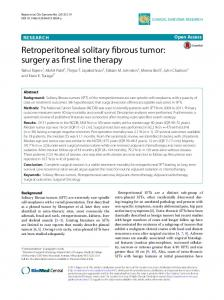 Retroperitoneal solitary fibrous tumor: surgery as first line therapy ...
