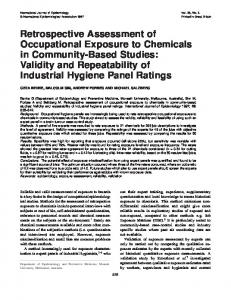 Retrospective Assessment of Occupational Exposure to ... - CiteSeerX