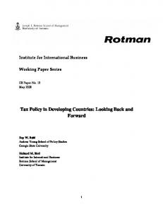Retrospective on Tax Policy in Developing Countries