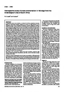Retrospective study of snake envenomation in 155 dogs from the ...