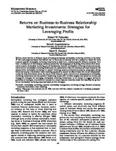 Returns on Business-to-Business Relationship Marketing Investments ...