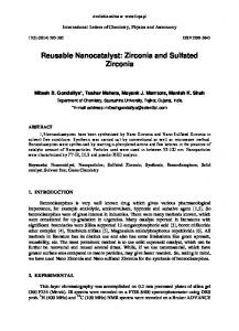 Reusable Nanocatalyst: Zirconia and Sulfated Zirconia
