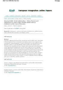 Reusing Public Sector Information - Policy Choices ... - (SSRN) Papers