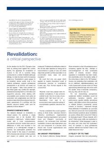 Revalidation: a critical perspective