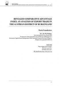 REVEALED COMPARATIVE ADVANTAGE INDEX: AN ANALYSIS OF