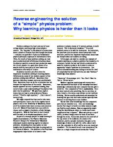 "Reverse engineering the solution of a ""simple"" physics problem ..."
