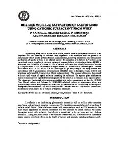 reverse micelles extraction of lactoferrin using cationic surfactant from ...