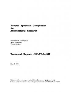 Reverse Synthesis Compilation for Architectural Research Technical ...