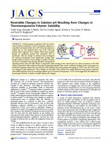 Reversible Changes in Solution pH Resulting from Changes in ...