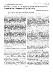 Reversible, Nonionic, and pH-dependent Association of Cytochrome c
