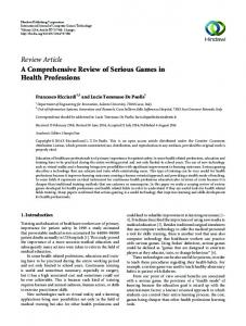 Review Article A Comprehensive Review of Serious