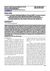 Review Article A review on Intensity Modulated Radiation Therapy