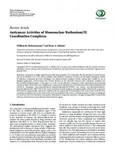 Review Article Anticancer Activities of Mononuclear Ruthenium(II ...