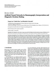 Review Article Artificial Neural Networks in ... - BioMedSearch