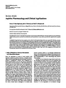 Review Article Aspirin: Pharmacology and Clinical ... - BioMedSearch