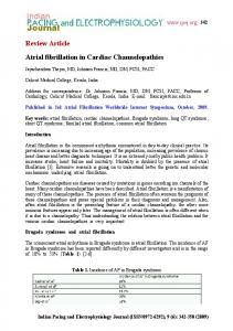 Review Article Atrial fibrillation in Cardiac Channelopathies