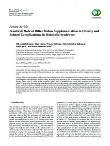 Review Article Beneficial Role of Bitter Melon ...