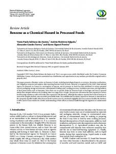 Review Article Benzene as a Chemical Hazard in Processed Foods