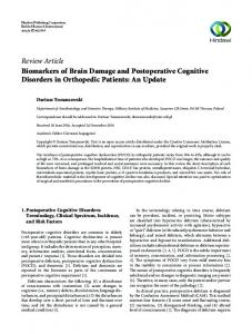 Review Article Biomarkers of Brain Damage and