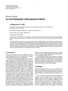 Review Article Cervical Myelopathy in Rheumatoid ... - ScienceOpen