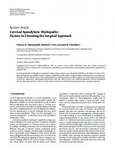Review Article Cervical Spondylotic Myelopathy - ScienceOpen