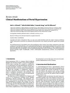 Review Article Clinical Manifestations of Portal ... - ScienceOpen