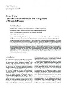Review Article Colorectal Cancer: Prevention and ... - BioMedSearch