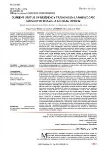 review article CURRENT STATUS OF RESIDENCY ... - Scielo.br