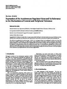 Review Article Expression of the Autoimmune ... - ScienceOpen