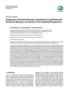 Review Article Importance of Genetic Diversity ...