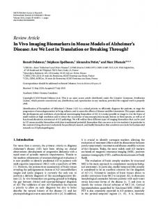 Review Article In Vivo Imaging Biomarkers in Mouse ... - mamobipet