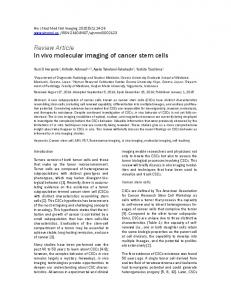 Review Article In vivo molecular imaging of cancer stem cells