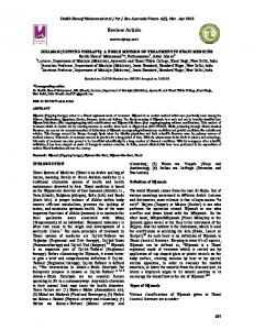 Review Article - International Journal of Research in Ayurveda and